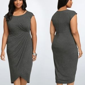 NWT Torrid Gray Tulip Midi Dress